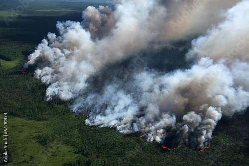Spoed canvasdoek 2cm dik Luchtfoto Wildfire in forest, aerial view