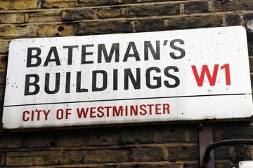 bateman's buildings street sign