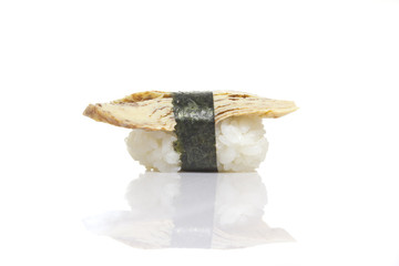 Tamago sushi niiri isolated