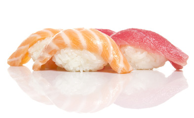 Sslmon and tuna sushi niiri isolated