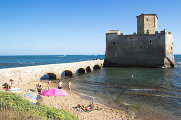 torre astura castle and beach