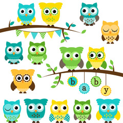 Vector Collection of Gender Neutral Baby Shower Themed Owls and