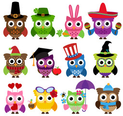 Vector Set of Cute Holiday and Seasonal Owls
