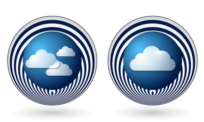 set of two orange icons with clouds
