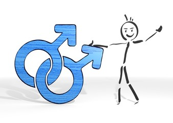 stick man presents homosexual sign