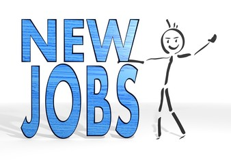 stick man presents new jobs sign