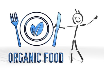 stick man presents organic food symbol