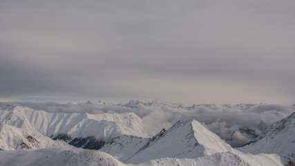 Swiss Alps Samnaum mountain landscape bad weather 4K