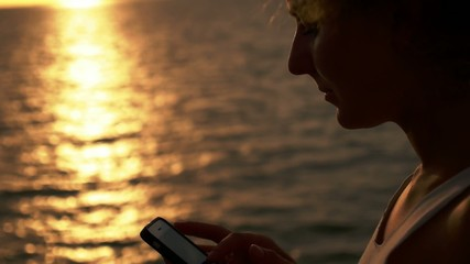 Close up on Young Woman Surfing Internet, Checking Social