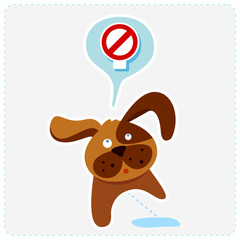 cute cartoon dog with sign icon - vector illustration