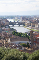 Italy, Florence, famous Ponte Vecchio and Arno river
