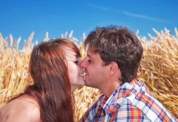 Beautiful couple kissing in wheat field