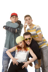 Four people on a white background - Urban youth.