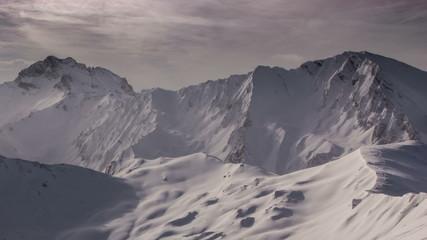 Alpine snow covered mountain Piz Rotz Tirol  time lapse 4K