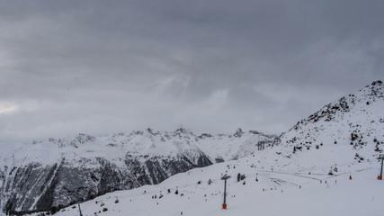 Ischgl ski resort bad weather tracking time lapse 4K