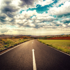 Concept of straight road for business and new career start.