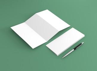 Briefpapier Broschüre und Kugelschreiber
