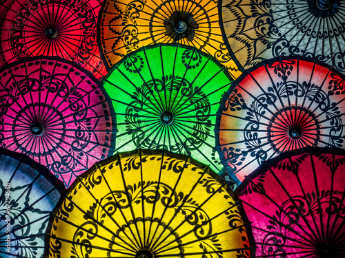 Colorful Asian Umbrellas at Traditional Burmese Street Market - 67294588