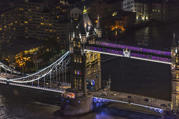 Night aerial view of Tower Bridge