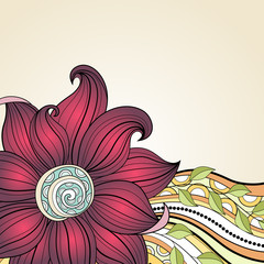Vector Colored Floral Background. Hand Drawn Texture with Flower