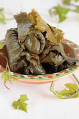 Bowl of salted grape leaves