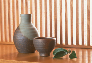 Asian tea set with summer
