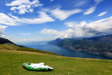 Paraglider preparing wing