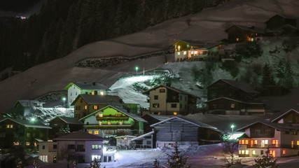 Tirol Alpine village of See night time lapse 4K