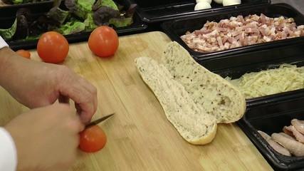 préparation d'un sandwich