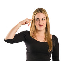 Girl making crazy gesture over white background