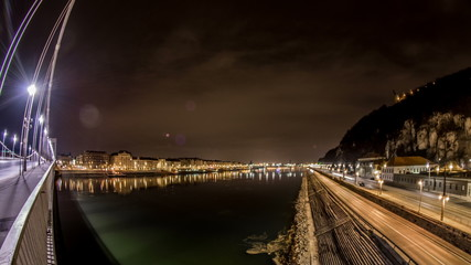 Budapest city and Danube river night time lapse fish eye 4K