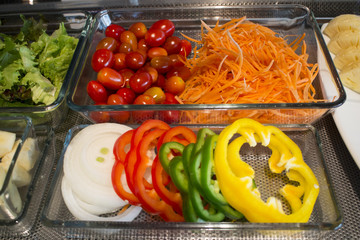 Varieties of vegetable in salad buffet line