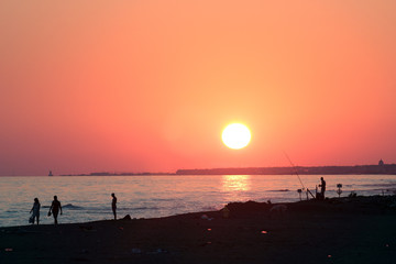 Ostia beach sunset, Rome, Italy