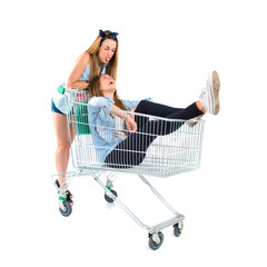 Girl inside supermarket cart over white background