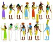 A set of ancient Egyptian gods and goddesses - 67297952