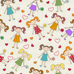 Vector pattern with girls for use in design