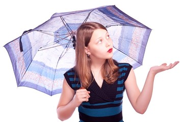 Teen girl staying under umbrella