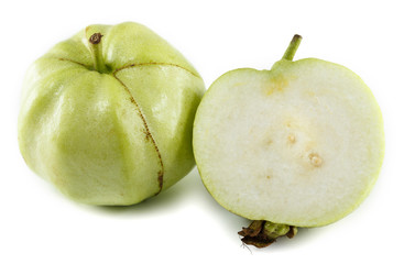 White guava and its cross-section, isolated.