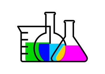 Laboratory glass on white background