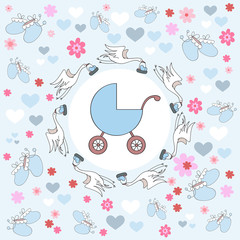 Vector illustration on birth of a boy