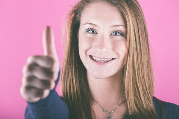 Beautiful Girl with Thumbs Up