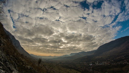 Transylvania valley and village clouds time lapse 4K