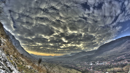 Transylvania valley and village clouds time lapse HDR