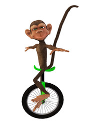 cartoon 3d monkey with a unicycle