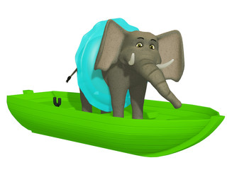 cute cartoon 3d elephant learning swimmimg