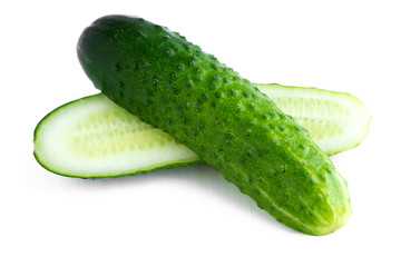 Cucumber over white background