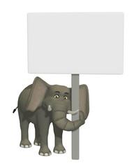 3d cartoon elephant with a blank sign