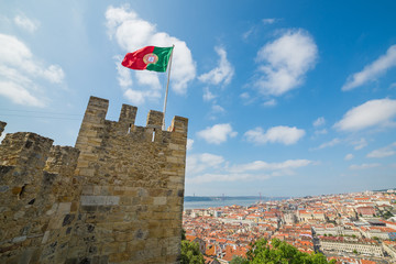 View from downtown Lisbon (São Jorge Castle). Portugal. Lisbon