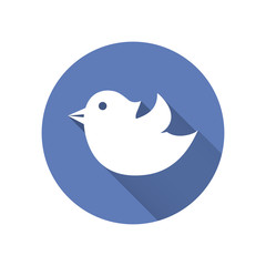 Bird icon in a blue round with long shadows. Vector design eleme