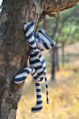 Funny toy cat climbing a tree